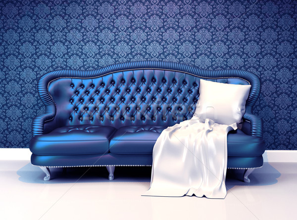 Modern leather sofa with covering  in interior with ornament wal Stock photo © Victoria_Andreas