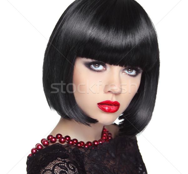 красивая женщина черный короткие волосы прическа профессиональных Сток-фото © Victoria_Andreas