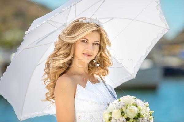 Elegant bride outdoor wedding portrait. Beautiful fiancee woman  Stock photo © Victoria_Andreas