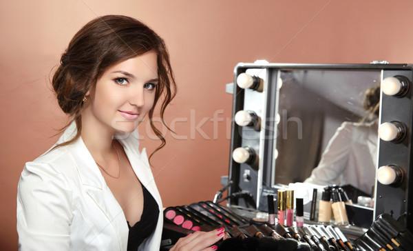 Szépség mosolygó nő profi stylist sminkmester dr Stock fotó © Victoria_Andreas