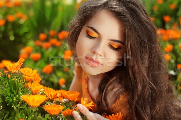 Beauty Romantic Girl Outdoors. Eye makeup. Beautiful Teenage Mod Stock photo © Victoria_Andreas