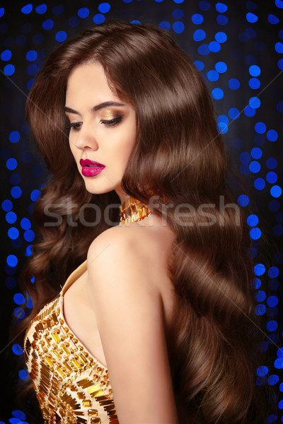 Long wavy hair. Elegant Brunette portrait. Beautiful girl with s Stock photo © Victoria_Andreas