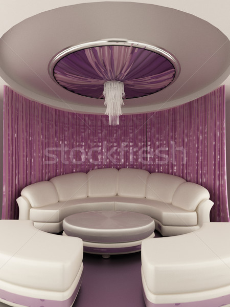 Round tent on the ceiling with Curtain and sofa in luxury interi Stock photo © Victoria_Andreas