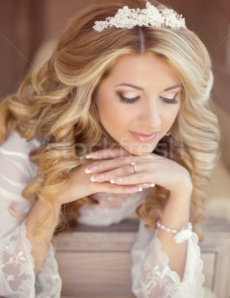 Beautiful bride woman indoor portrait. Makeup and wavy hair styl Stock photo © Victoria_Andreas