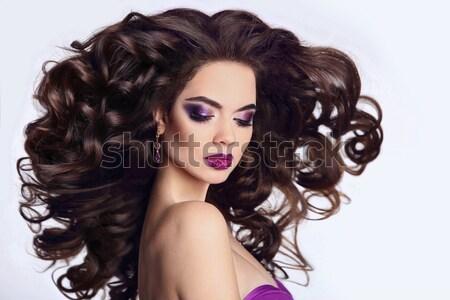 Makijaż zdrowych fryzura brunetka dziewczyna piękna Zdjęcia stock © Victoria_Andreas