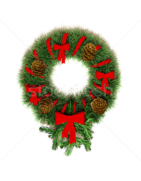 Round wreath Christmas-tree decorations on the door.  Stock photo © Victoria_Andreas