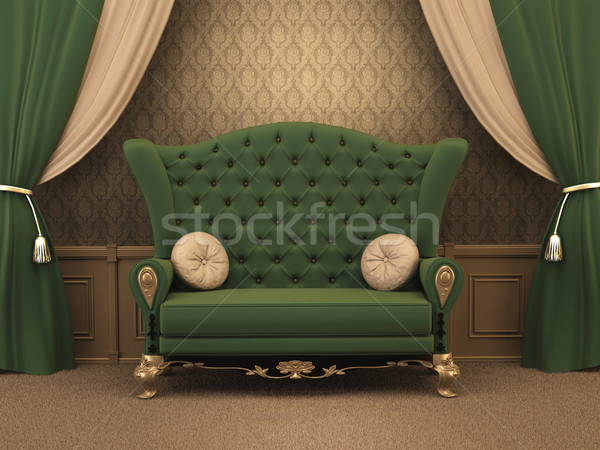 Textured Sofa with pillows and curtain drapery in luxurious apar Stock photo © Victoria_Andreas