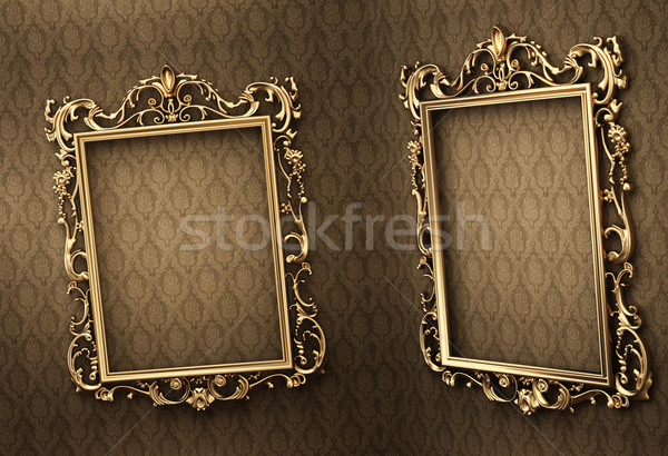 Empty golden frames on the wall. Space showroom. Royal Stock photo © Victoria_Andreas