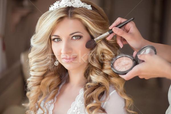 Smink vonzó mosolyog menyasszony esküvő nap Stock fotó © Victoria_Andreas