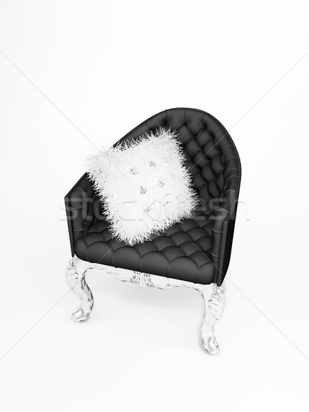 Leather armchair with bushy cushion isolated on white background Stock photo © Victoria_Andreas
