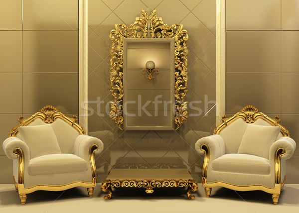 Luxury armchairs with  frame in old style interior Stock photo © Victoria_Andreas
