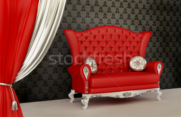 Opened curtain and modern sofa with pillow in interior with orna Stock photo © Victoria_Andreas