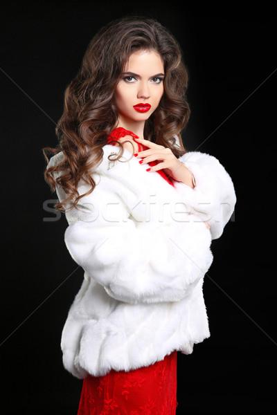 Kış kadın lüks beyaz kürk güzellik Stok fotoğraf © Victoria_Andreas
