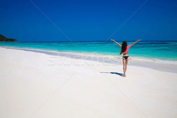 Stock photo: Free Happy Woman Enjoying tropical beach nature. Wellness. Trave