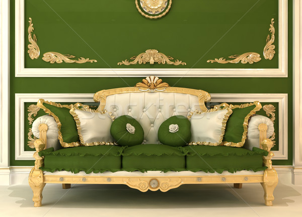 Demonstration of Royal sofa with pillows in green luxury room Stock photo © Victoria_Andreas