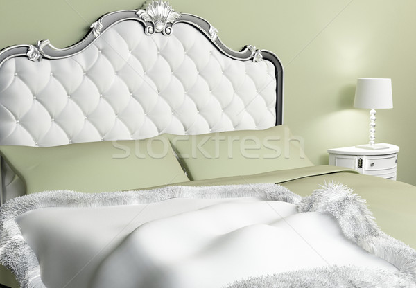 Luxurious bed with pillows and bedspread in hotel interior Stock photo © Victoria_Andreas