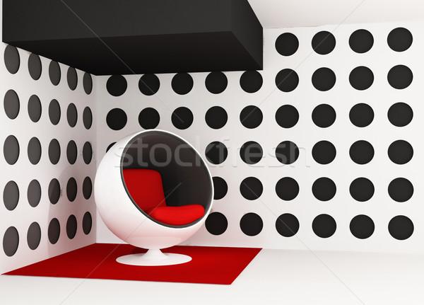Pop art interior. Round armchair. Geometrical interior Stock photo © Victoria_Andreas