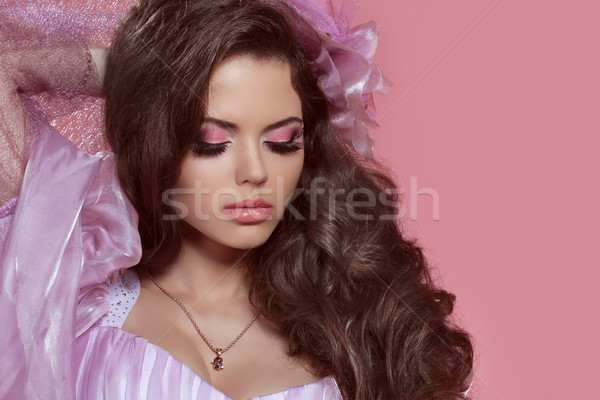 Glamour portrait of beautiful woman model with curly hair and br Stock photo © Victoria_Andreas
