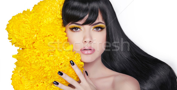 Long shine hair. Brunette Young attractive woman. Manicured nail Stock photo © Victoria_Andreas