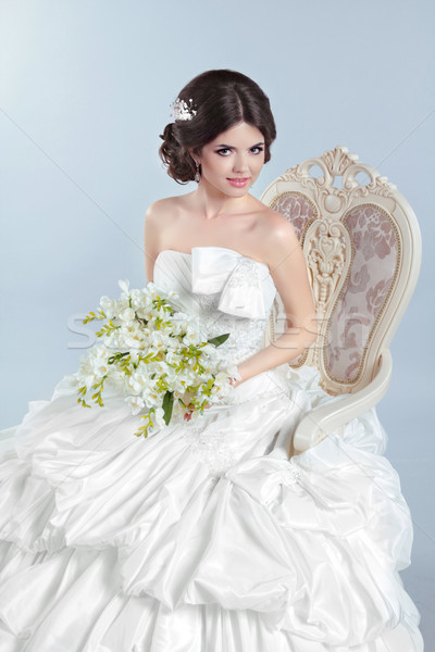 Beautiful bride girl wearing in wedding dress with voluminous sk Stock photo © Victoria_Andreas