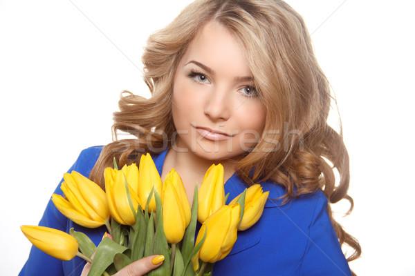 Stock fotó: Gyönyörű · nő · portré · tulipánok · izolált · fehér · nő