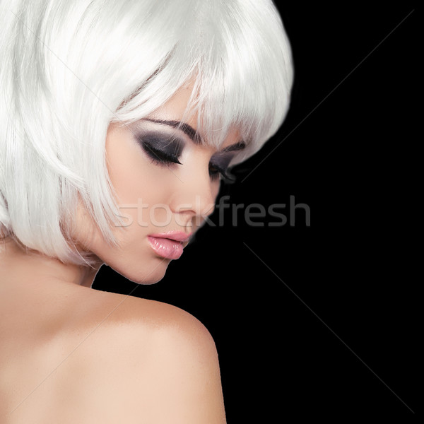 Fashion Beauty Portrait Woman. White Short Hair. Isolated on Bla Stock photo © Victoria_Andreas