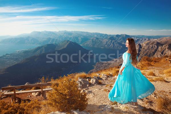 Montenegro landscape above mountain ridge and Kotor bay. Beautif Stock photo © Victoria_Andreas