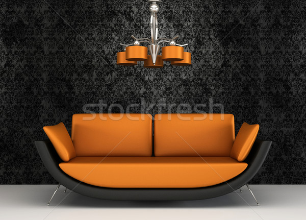 Fabric sofa in modern interior with pattern wallpaper Stock photo © Victoria_Andreas