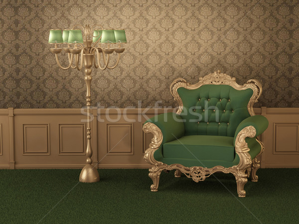 Stockfoto: Oude · meubels · fauteuil · frame · koninklijk · houten