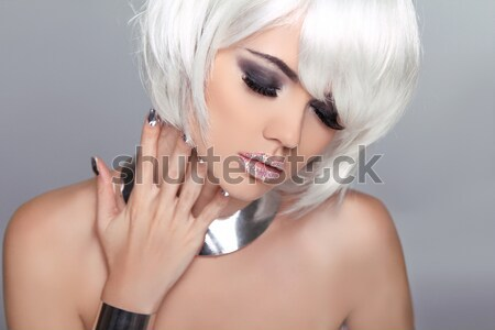 Fashion Beauty Portrait of woman with White Short Hair. Makeup a Stock photo © Victoria_Andreas