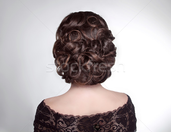 Beauty wedding hairstyle. Bride. Brunette girl with curly hair s Stock photo © Victoria_Andreas