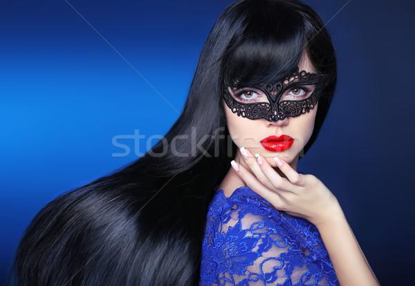Beautiful long Hair. Makeup. Girl. Manicure. Elegant brunette po Stock photo © Victoria_Andreas