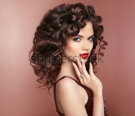 Beauty fashion portrait. Beautiful woman with dark lips makeup a Stock photo © Victoria_Andreas