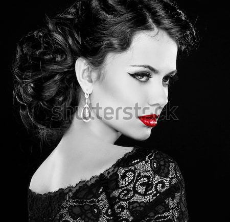 Fashion lady woman with red lips and diamonds, black and white p Stock photo © Victoria_Andreas