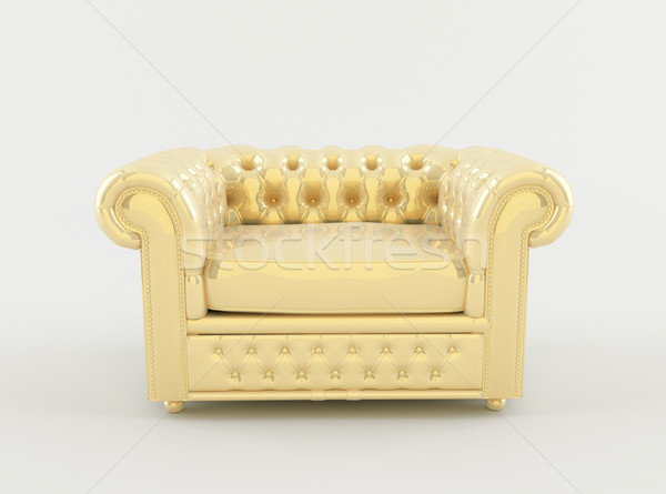 Golden leather armchair on white background Stock photo © Victoria_Andreas