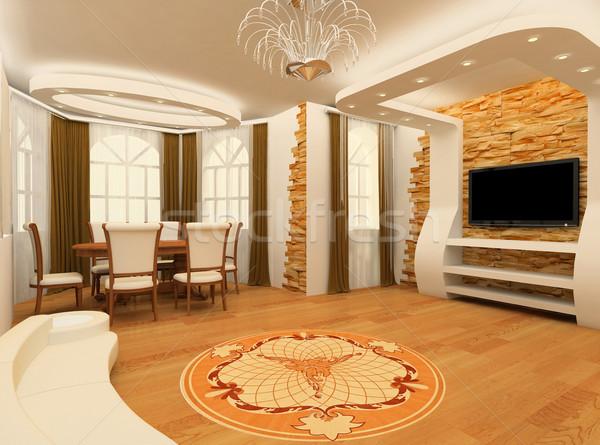 Decorative ornament with laminated flooring board and brick maso Stock photo © Victoria_Andreas