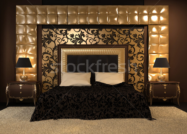 Front perspective of luxutiois double bed at royal apartment. Mo Stock photo © Victoria_Andreas
