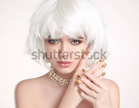 Fashion Beauty Woman portrait. Makeup. White Short Hair. Jewelry Stock photo © Victoria_Andreas