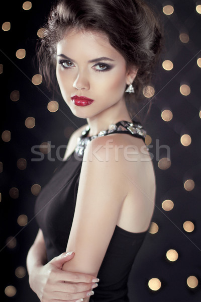 Fashion Beauty Glam Brunette Girl Model over bokeh lights backgr Stock photo © Victoria_Andreas
