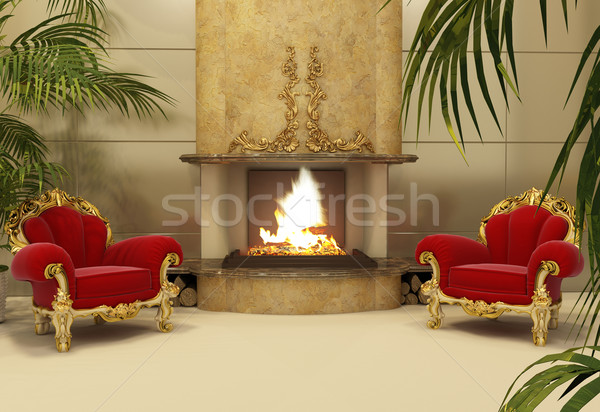 Baroque armchairs with fireplace in royal interior Stock photo © Victoria_Andreas