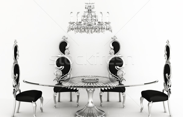 Baroque furniture. Royal chairs with round table Stock photo © Victoria_Andreas