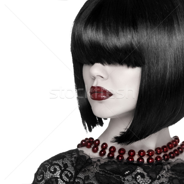 Fashion Stylish Beauty Portrait. Brunette Girl with fringe over  Stock photo © Victoria_Andreas