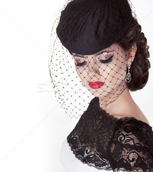 Fashion brunette retro woman portrait in elegant hat with red li Stock photo © Victoria_Andreas