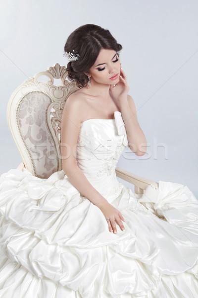 Oblubienicy piękna brunetka kobieta nowoczesne Zdjęcia stock © Victoria_Andreas