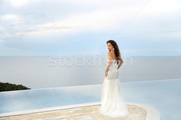 Schönen Braut Hochzeitskleid Freien Porträt Brünette Stock foto © Victoria_Andreas