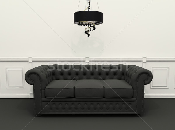 Sofa with chandelier in black and white classic interior Stock photo © Victoria_Andreas