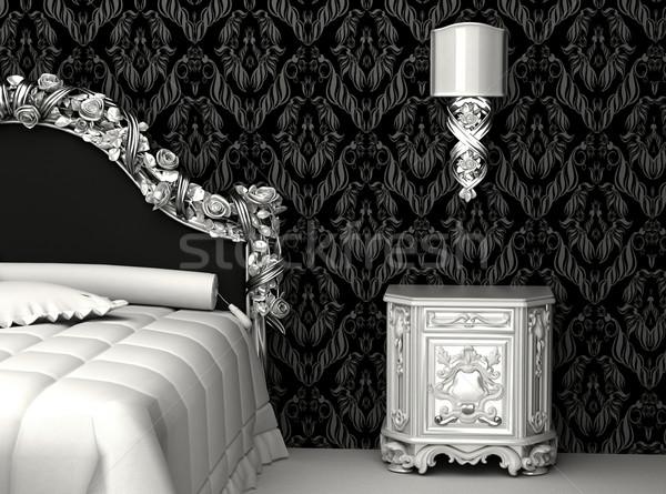 Barroco mobiliário quarto rosa papel de parede branco Foto stock © Victoria_Andreas