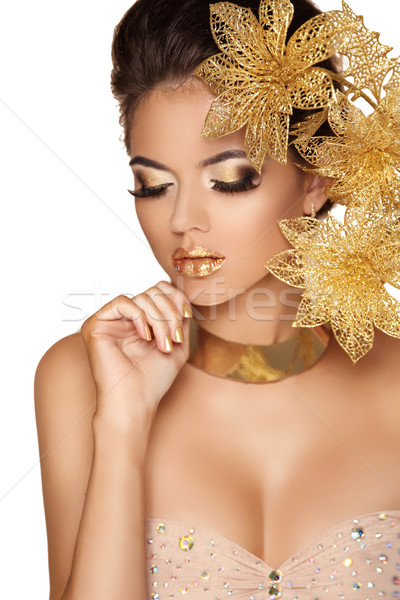 Beautiful Girl With Professional Make-up.  Decorative Flowers. B Stock photo © Victoria_Andreas