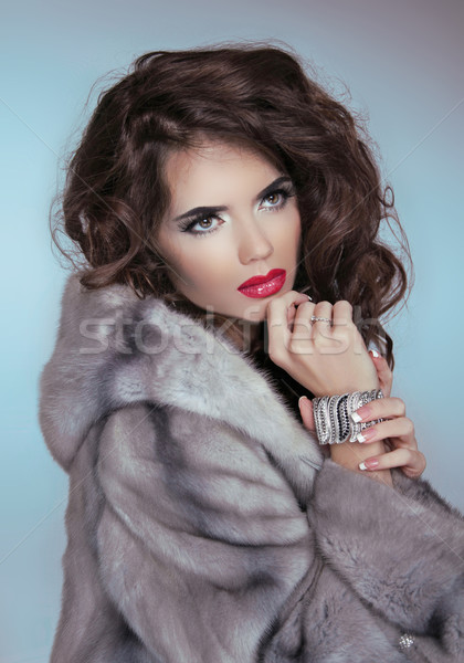 Beauty Fashion Model Girl in Mink Fur Coat. Beautiful Luxury Win Stock photo © Victoria_Andreas