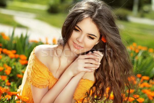Gozo cabelos longos livre feliz mulher Foto stock © Victoria_Andreas